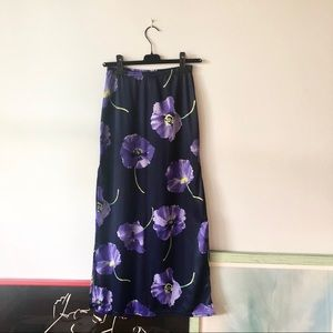 VINTAGE Purple Floral Maxi Skirt With Slit Small
